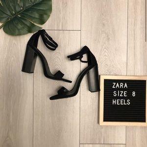 ZARA Black Suede Heels Size 8